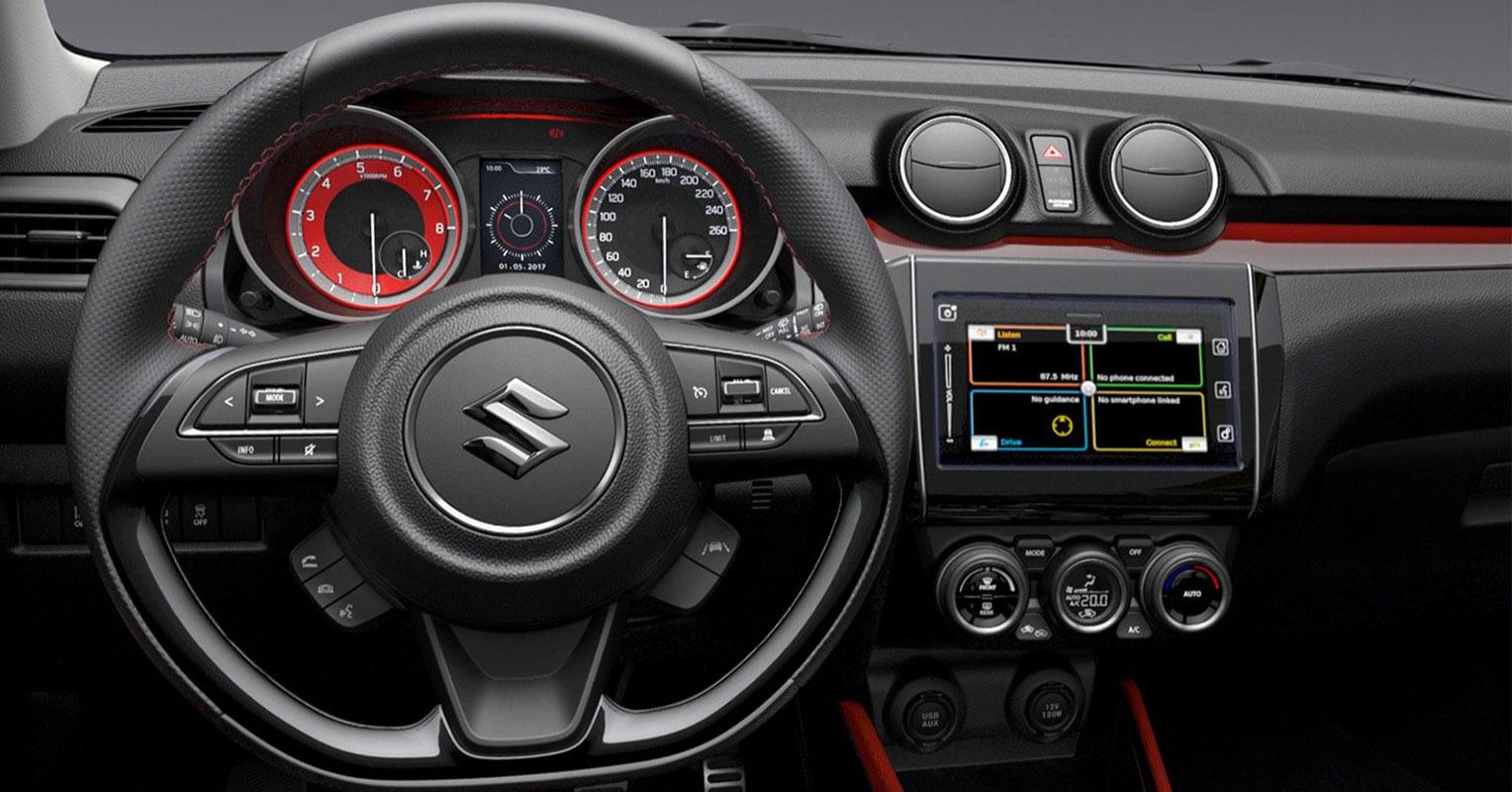 Interior del Suzuki Swift Sport 2018